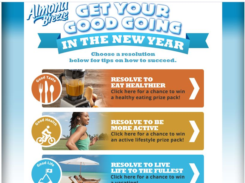 Blue Diamond Get Your Good Going in the New Year Sweepstakes