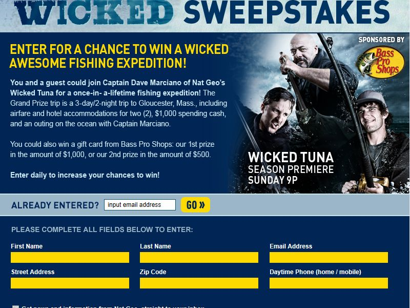 National Geographic Channel's Wicked Tuna Sweepstakes