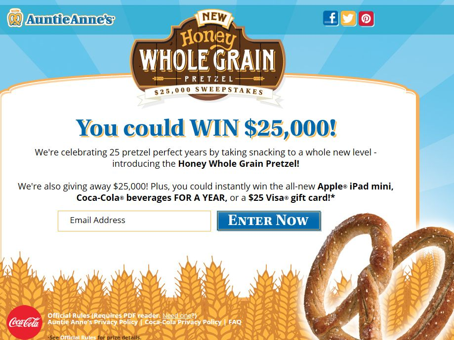 Auntie Anne's Honey Whole Grain $25,000 Sweepstakes