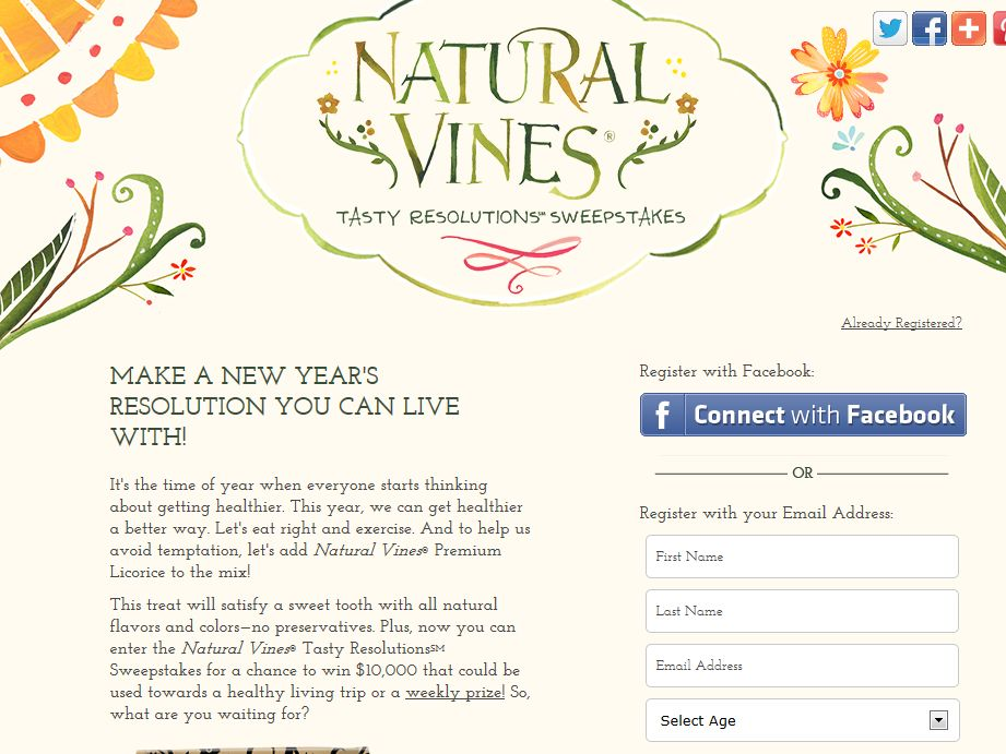 Natural Vines Tasty Resolutions Sweepstakes