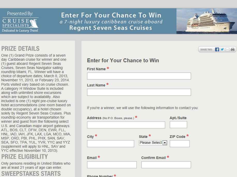 Caribbean Jewels Cruise Sweepstakes