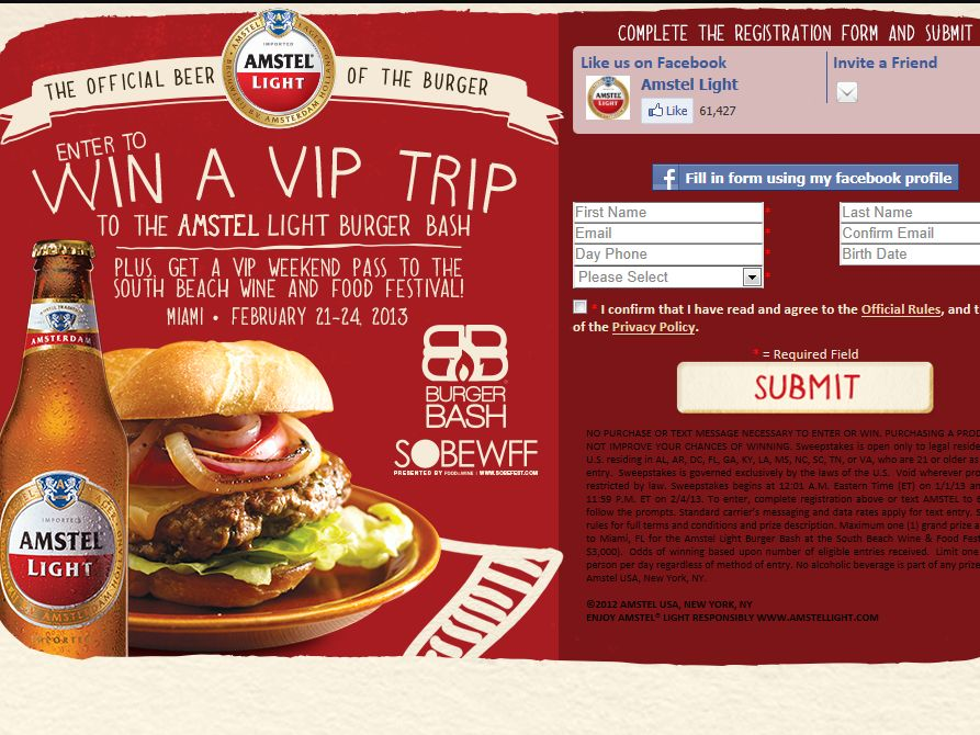 Amstel Light Burger Bash Sweepstakes