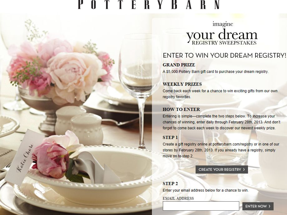 Pottery Barn Imagine Your Dream Registry Sweepstakes