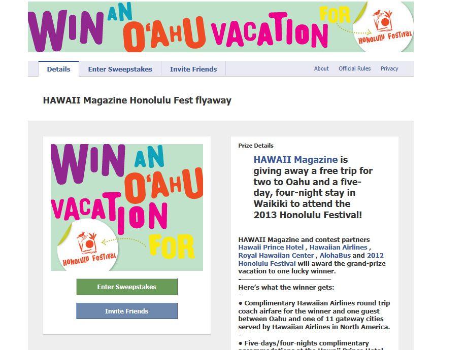 HAWAII Magazine Honolulu Fest flyaway Sweepstakes
