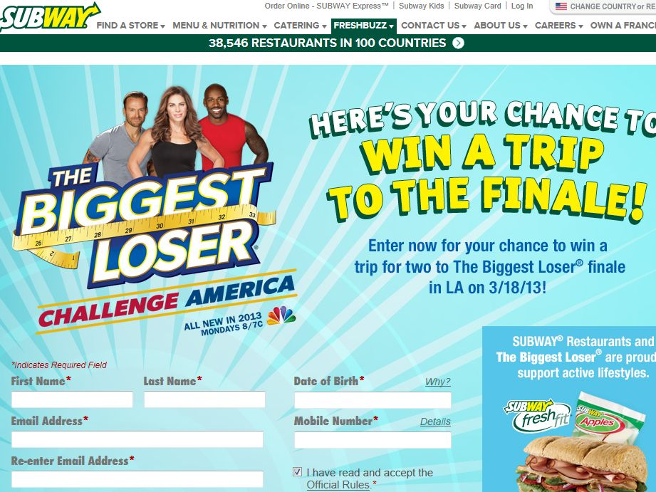 SUBWAY The Biggest Loser Finale Sweepstakes