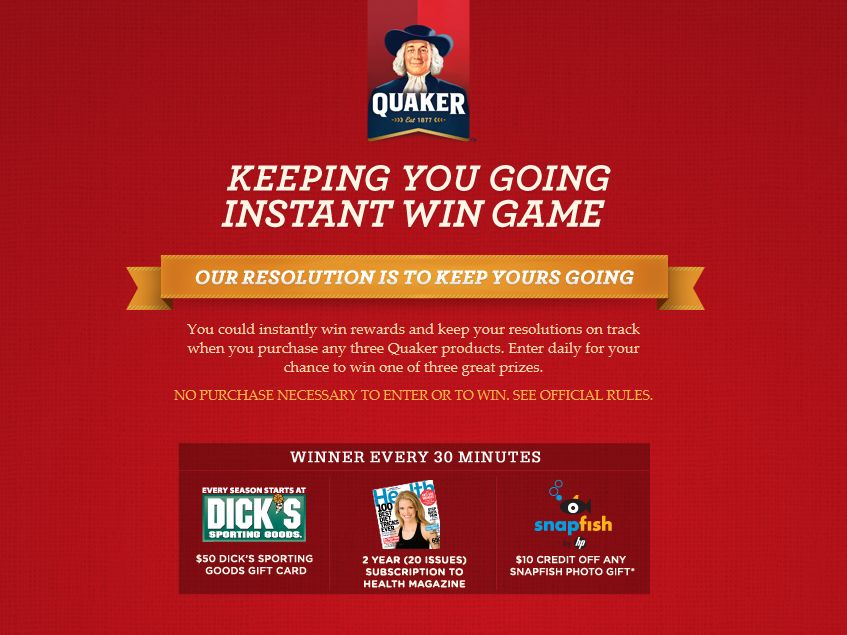 Quaker Instant-Win Game