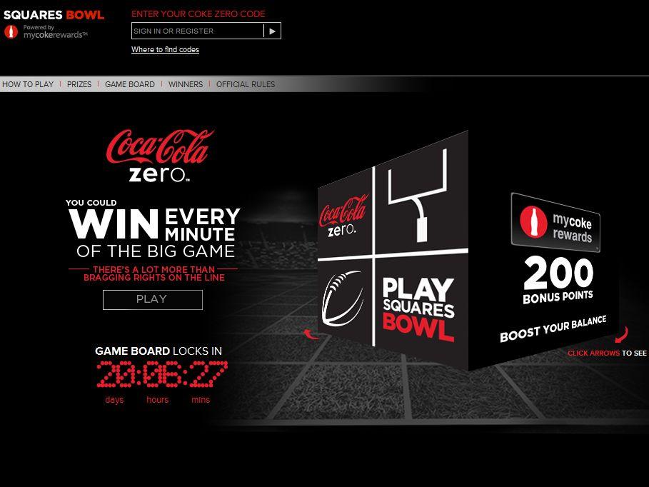Coke Zero Squares Bowl Sweepstakes