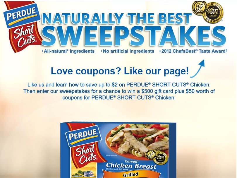 PERDUE SHORT CUTS Naturally the Best Sweepstakes