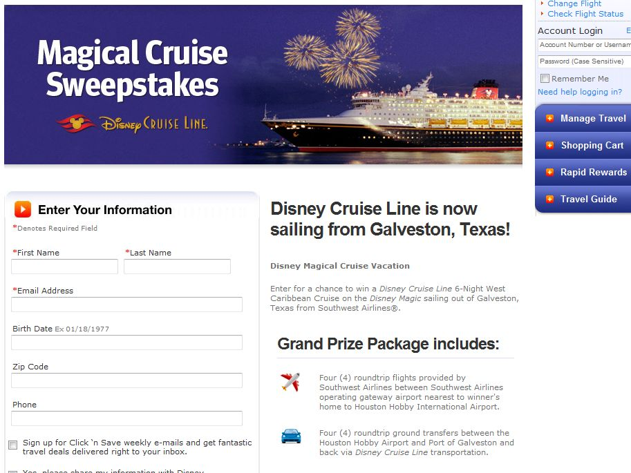 Southwest Airlines' Magical Cruise Sweepstakes