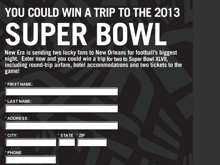 2013 New Era Super Bowl XLVII Sweepstakes