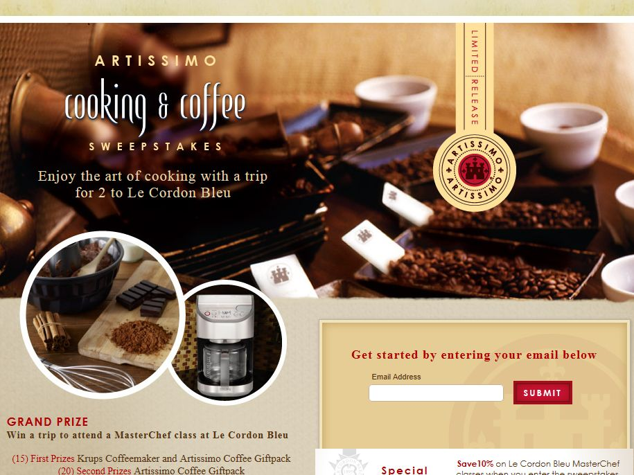 Artissimo's Art of Cooking and Coffee Sweepstakes