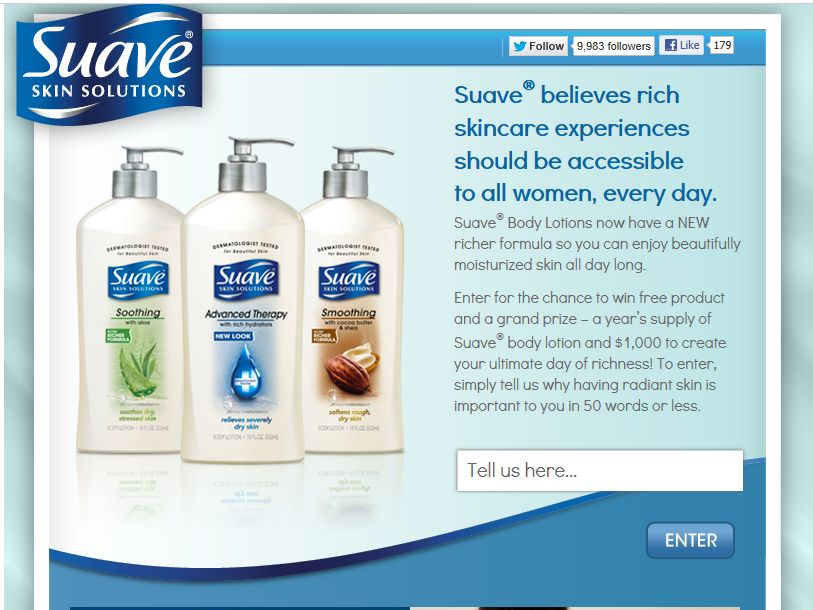 Suave Experience the Richness Sweepstakes