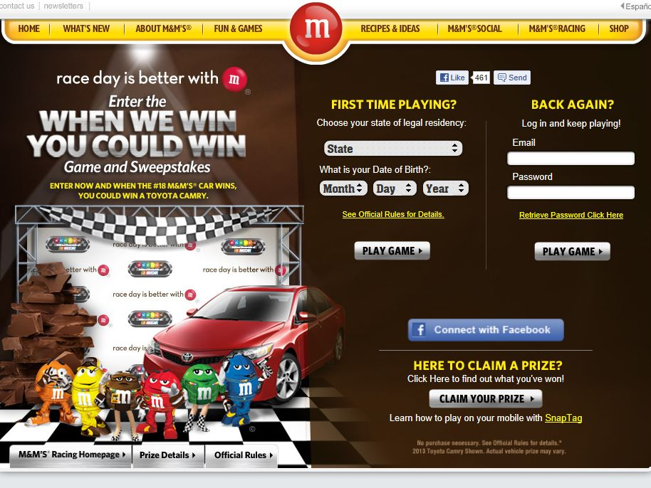 M & M's When We Win You Could Win Game and Sweepstakes