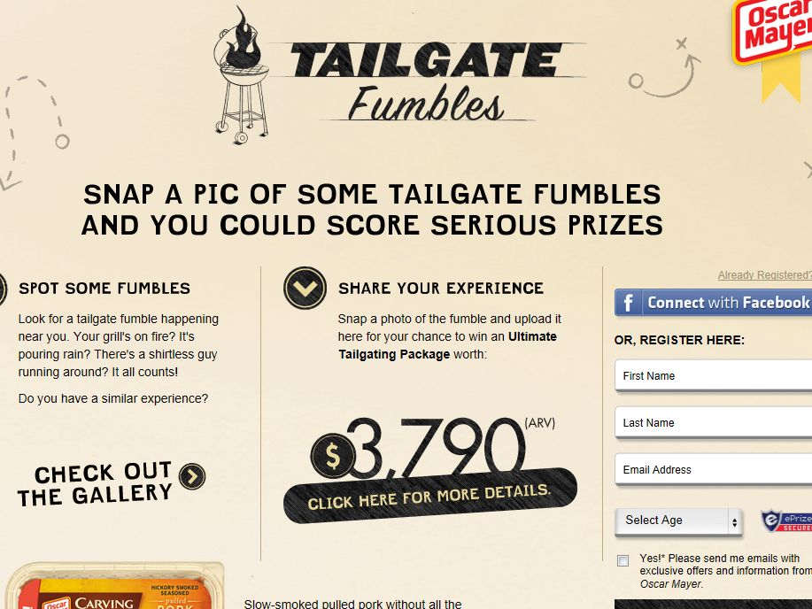 Oscar Mayer Carving Board Tailgate Fumbles Contest