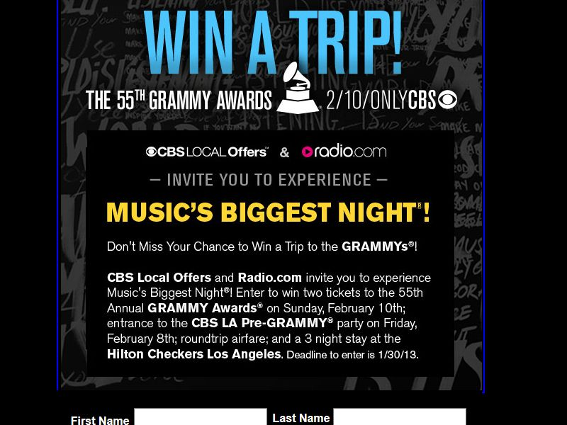 CBS 55th Annual GRAMMY Awards Giveaway