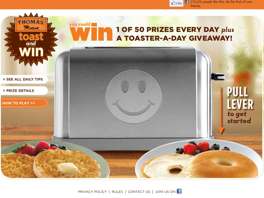 Thomas' English Muffins and Bagels Toast and Win Promotion