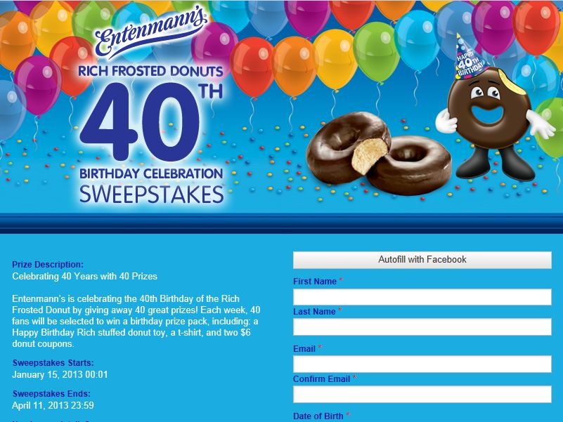 Rich Frosted Donut 40th Birthday Sweepstakes