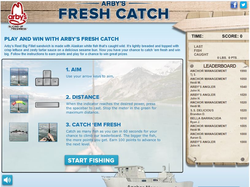Arby's Fresh Catch Sweepstakes