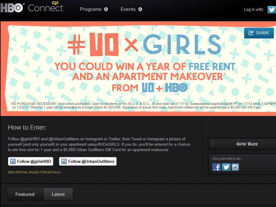 UO and Girls: Win a Year of Free Rent and an Apartment Makeover Sweepstakes