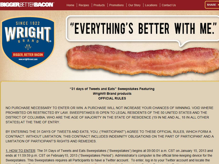 Wright Brand 31 Days of Tweets and Eats Sweepstakes