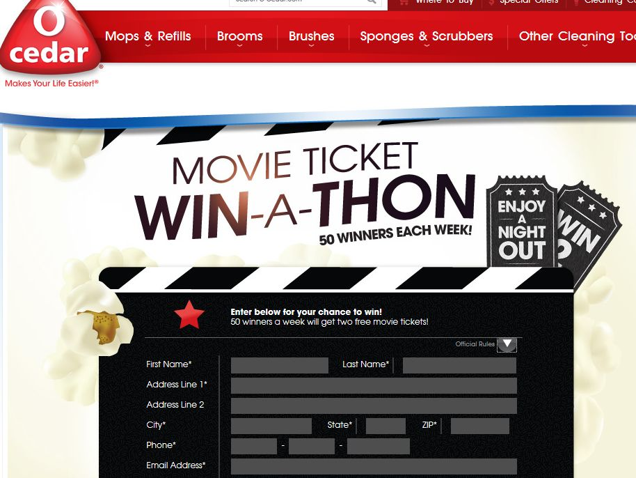 2013 O-Cedar Movie Ticket Giveaway Sweepstakes