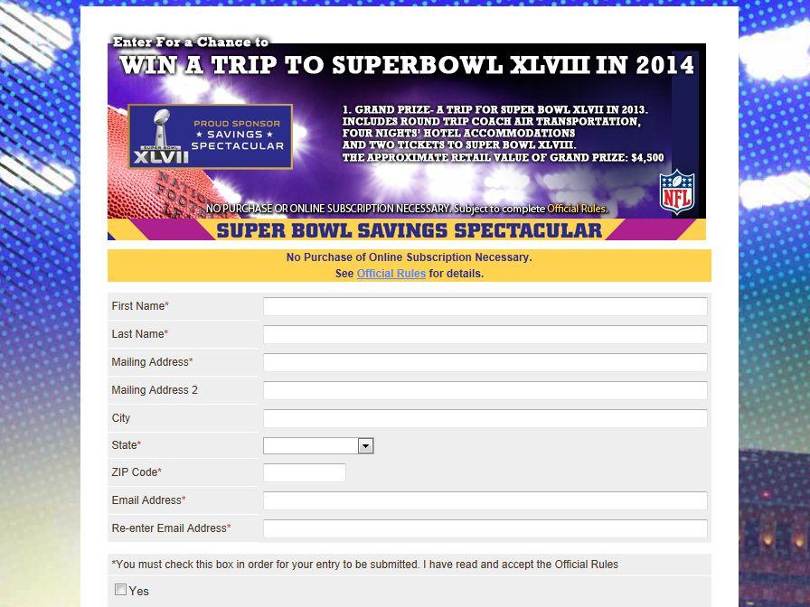 SmartSource Savings Spectacular Super Bowl XLVIII Sweepstakes