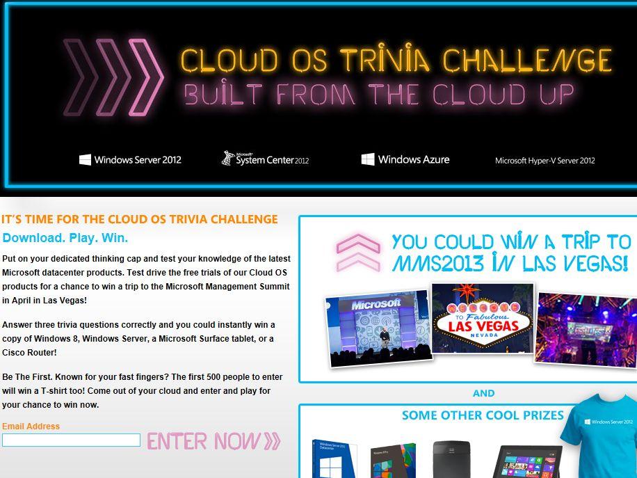 Microsoft Cloud OS Trivia Challenge Sweepstakes