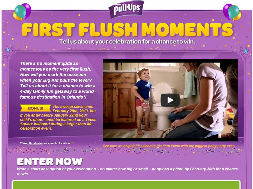 Pull-Ups First Flush Moments Sweepstakes