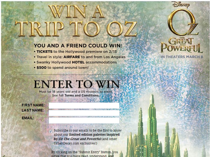 Urban Decay's Disney's Oz The Great & Powerful Red Carpet Premier Sweepstakes