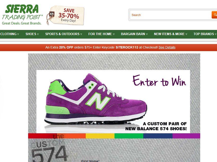 Sierra Trading Post New Balance Custom Shoe Sweepstakes