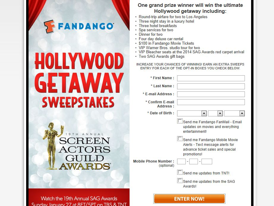 Fandango's Hollywood Getaway Sweepstakes