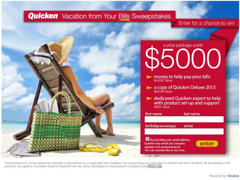 Quicken Vacation From Your Bills Sweepstakes