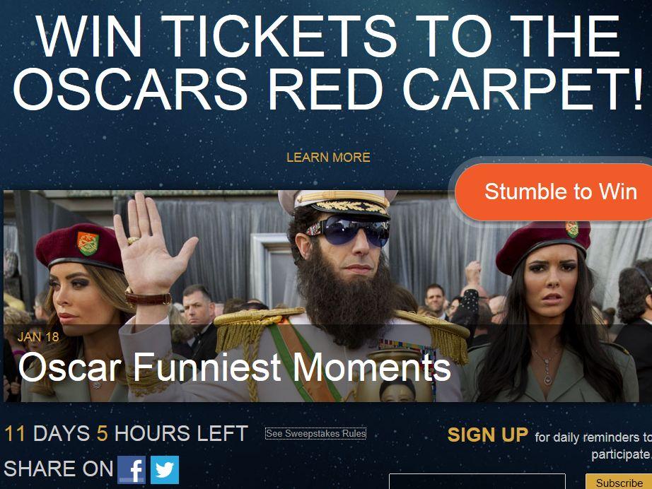 Stumble The Oscars Sweepstakes