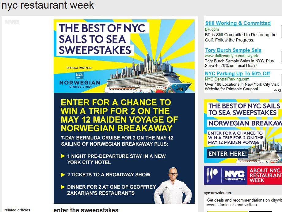 Best of NYC Sails to Sea Sweepstakes
