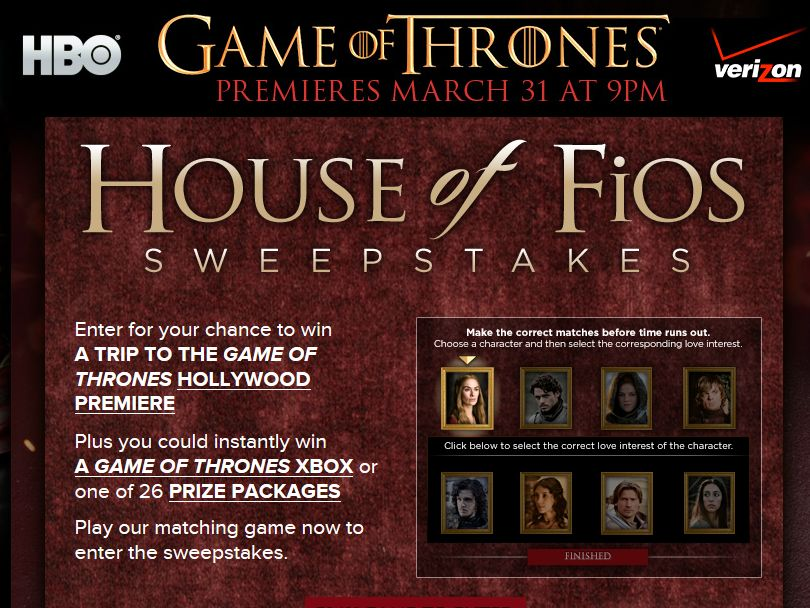 Verizon & HBO Game of Thrones House of Fios Sweepstakes