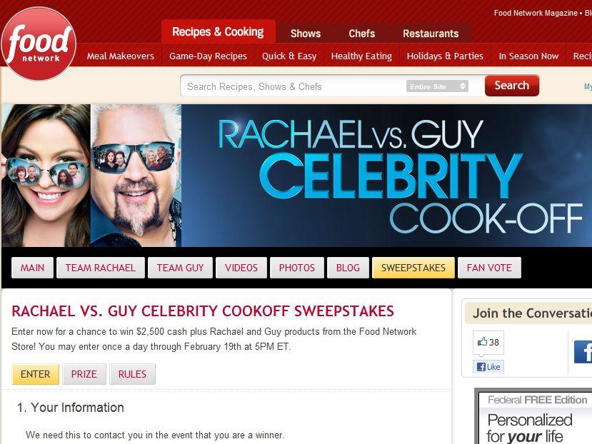 Rachel vs. Guy Celebrity Cookoff Sweepstakes