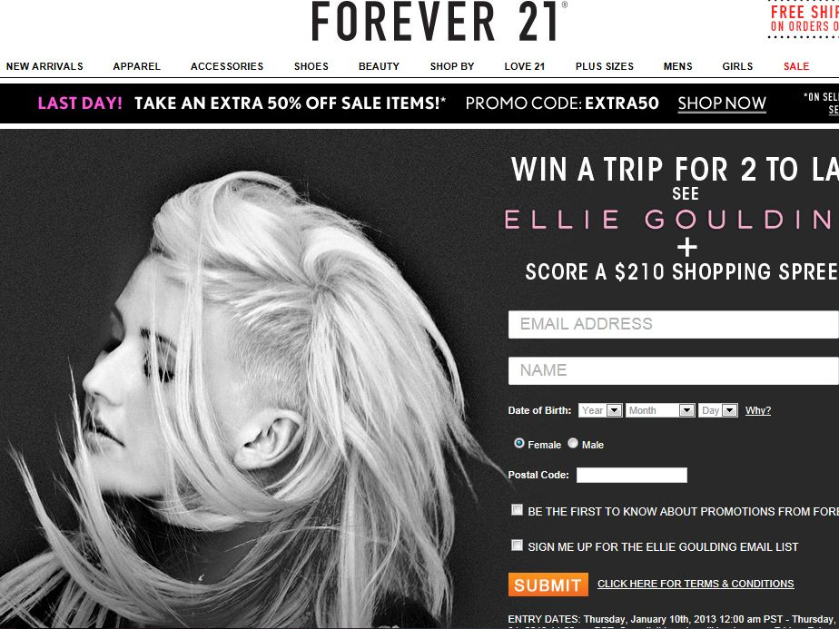 FOREVER 21 Ellie Goulding Concert Giveaway 2013 Sweepstakes