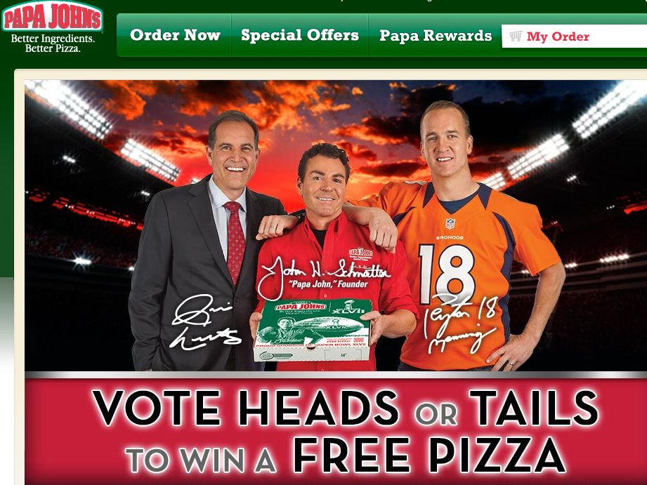 Papa John's Super Bowl XLVII Coin Toss Experience Sweepstakes