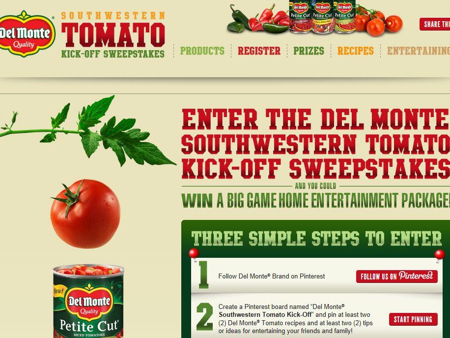 Del Monte Southwestern Tomato Kick-Off Sweepstakes