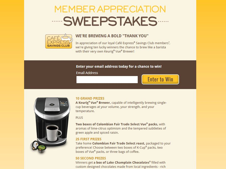 Cafe Express Member Appreciation Sweepstakes