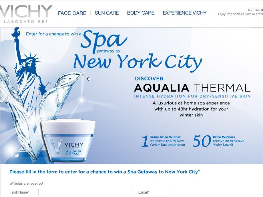Vichy Aqualia Spa Getaway to New York City Sweepstakes