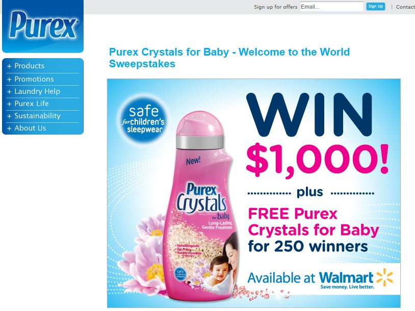 Purex Welcome to the World Sweepstakes