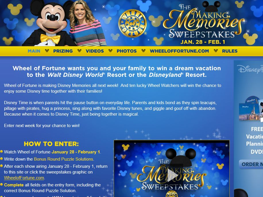 Wheel of Fortune Making Memories Sweepstakes
