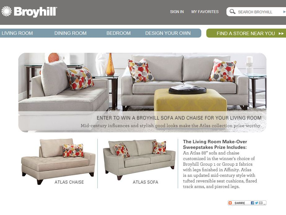 Broyhill Furniture 2013 Quarterly Online Sweepstakes