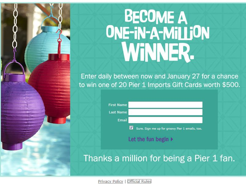 """Pier 1 Facebook 1 Million """"Likes"""" Daily Giveaway"""