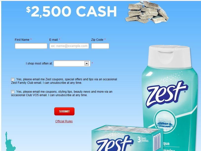 Zest Clean Out the Store $5,000 Shopping Spree Sweepstakes