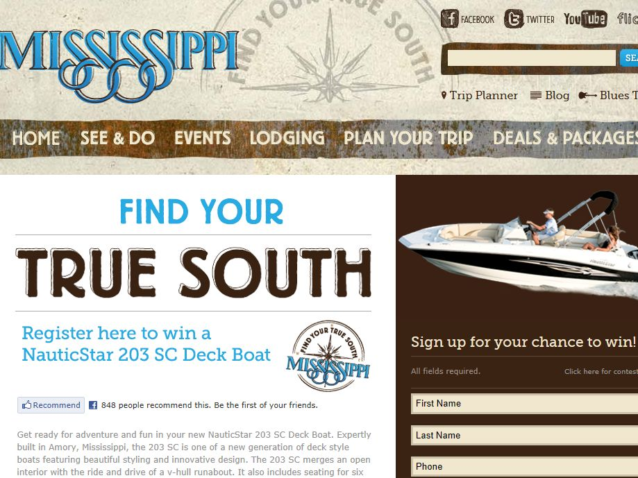 Find Your True South Mississippi Sweepstakes