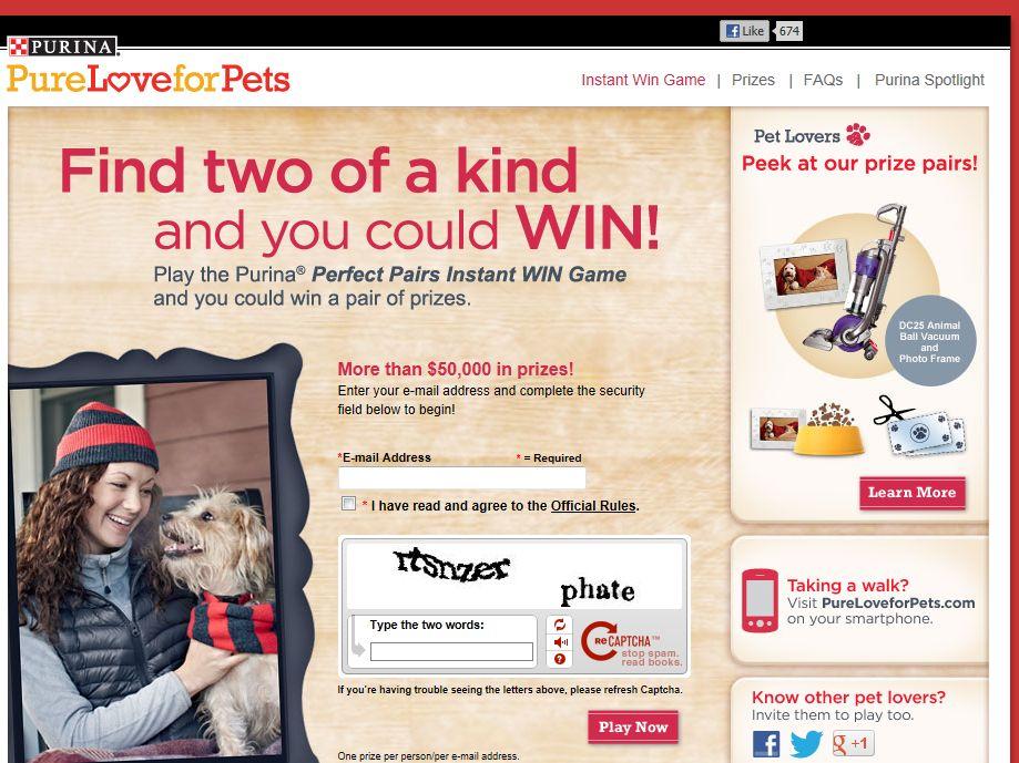 Purina Perfect Pairs Instant Win Game
