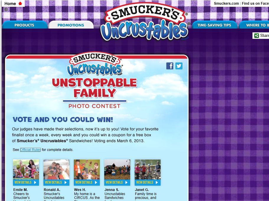 Smucker's Uncrustables Coupon Promotion