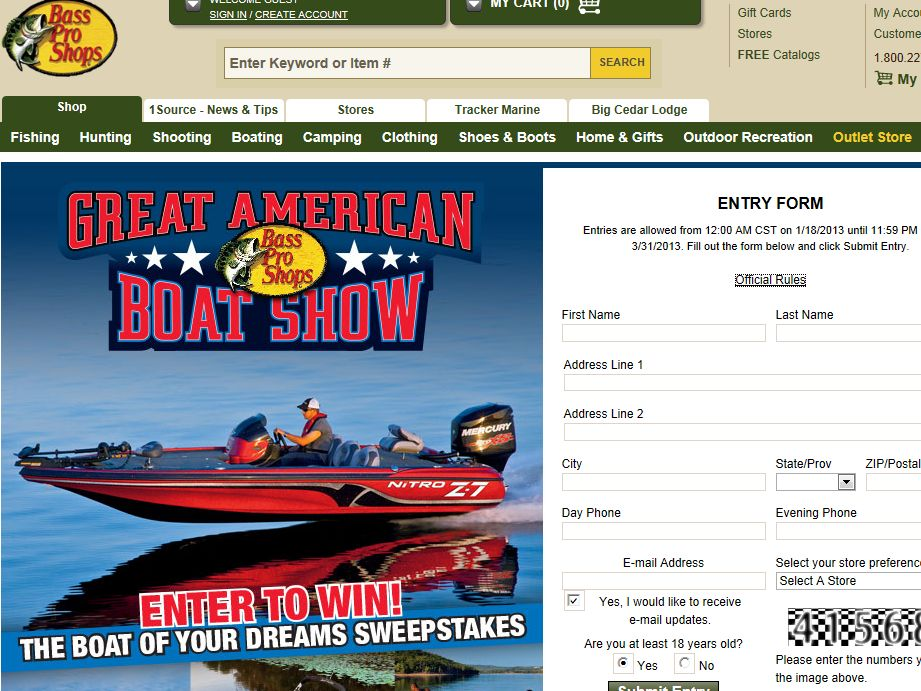 Tracker Marine Group 2013 Great American Boat Sale Dream Boat Giveaway Sweepstakes